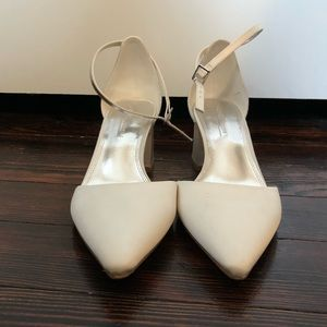 White block heels with strap